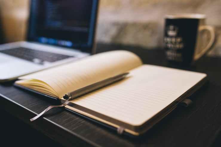 coffee notebook writing computer